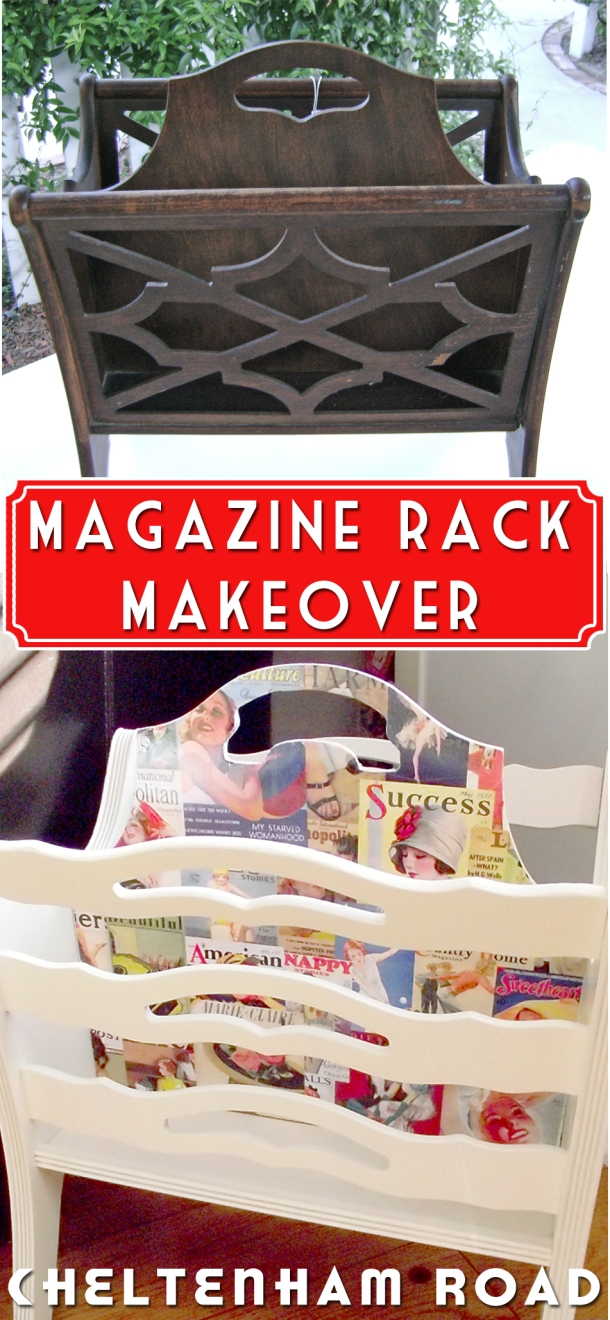 Thrift Store Magazine Rack Makeover