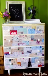 Vintage Postcard Dresser Makeover