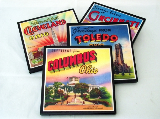 Coaster Set featuring Vintage Columbus, Cincinnati, Cleveland and Toledo Ohio