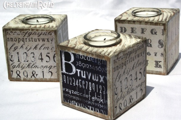 Wood Typography Votive Holders