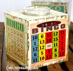 Wood Tea Light Holders Vintage Bingo Cards