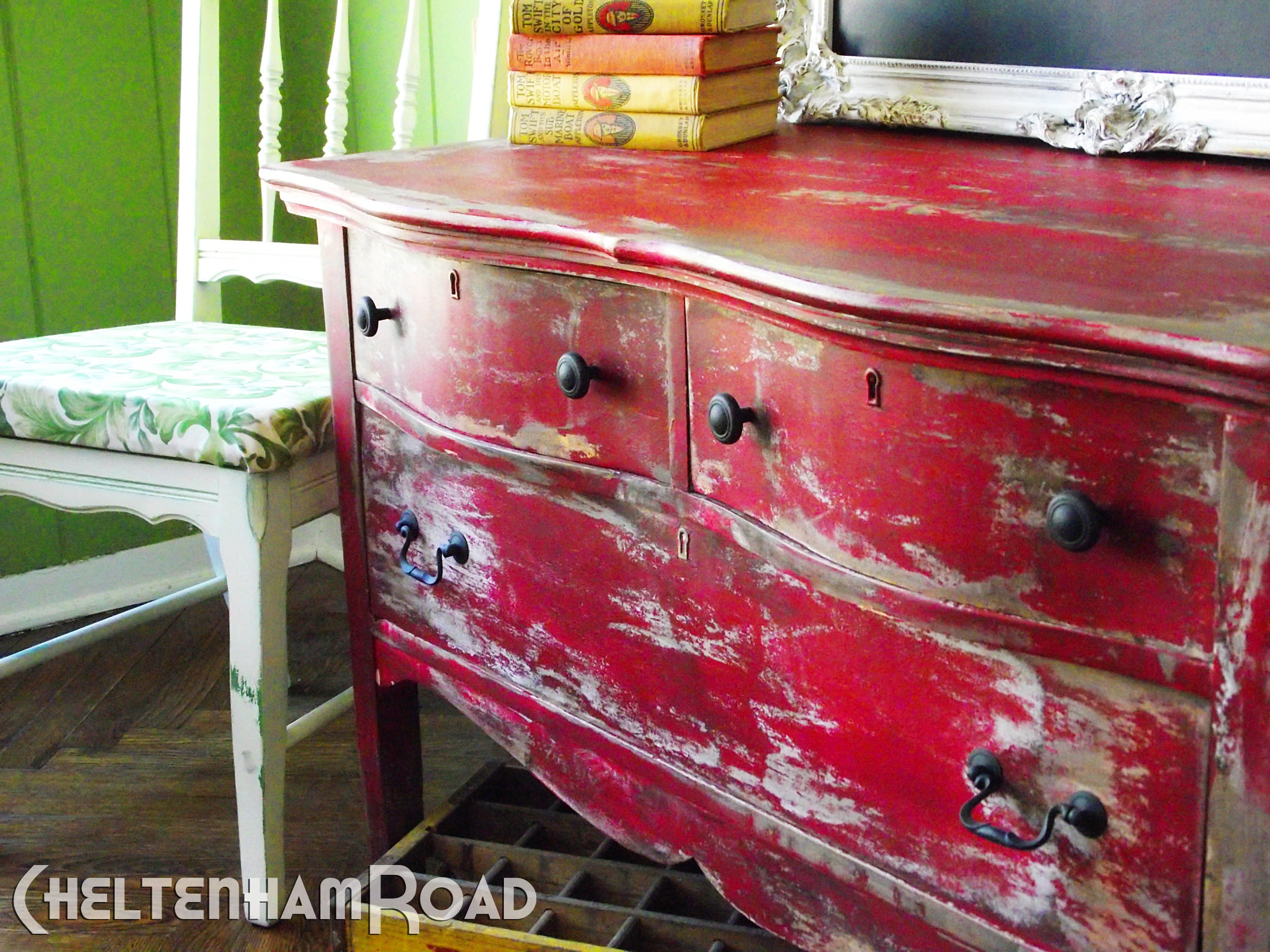 rustic red dresser makeover