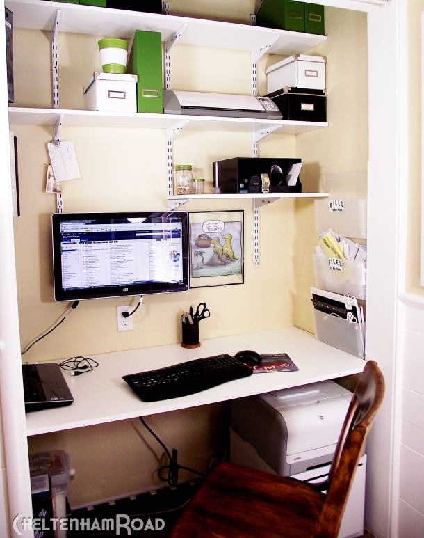 Turn a closet into a desk area