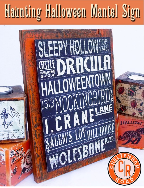 DIY Halloween Sign for Mantel