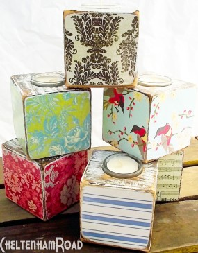 Vintage Wallpaper Candle Holders