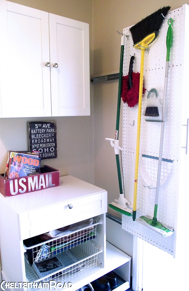 Easy, space saving, utility wall for the laundry room