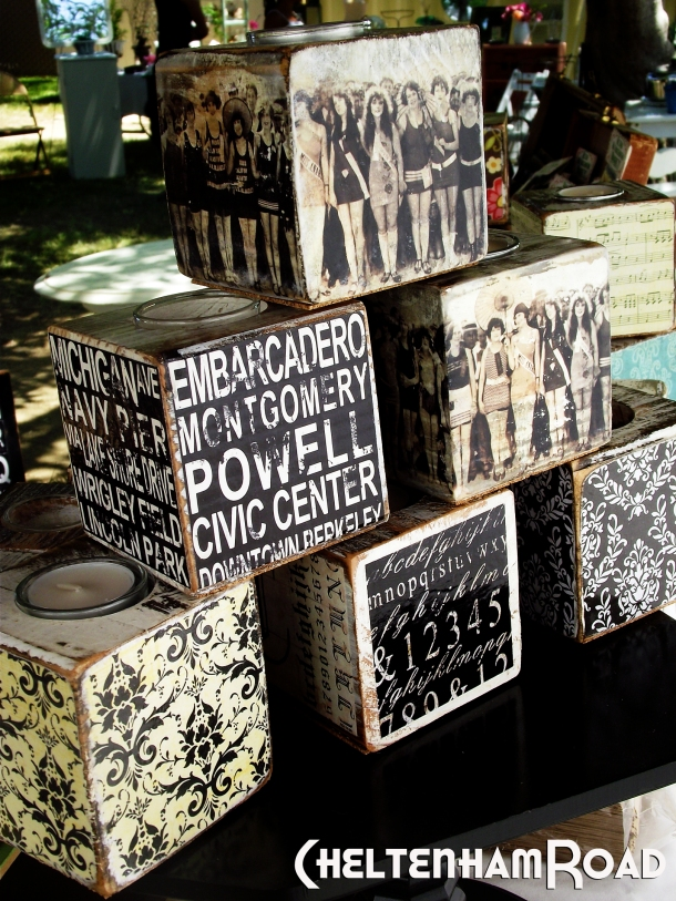 black and white candle block display