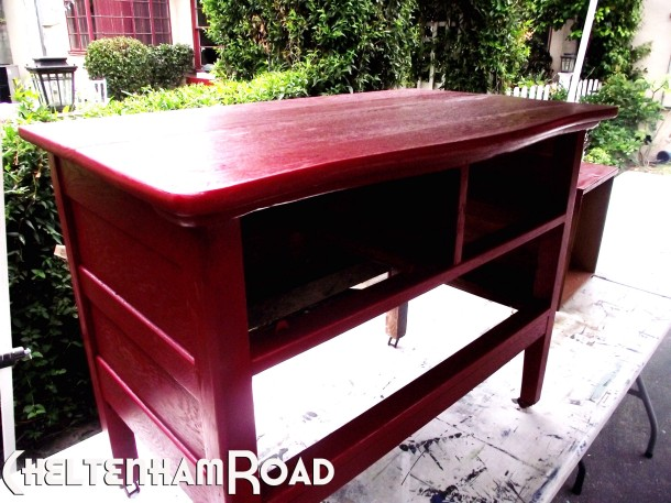 Furniture Makeover Two Coats of Colonial Red