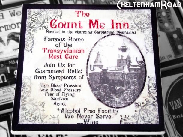 Dracula's Count Me Inn Gothic Halloween Coaster