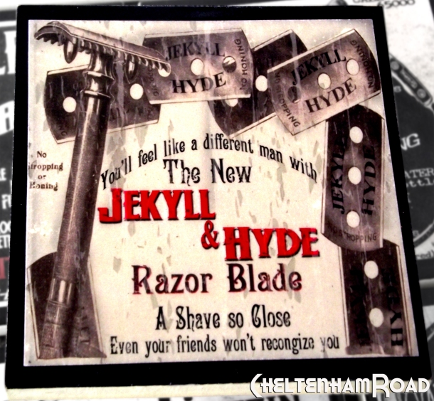 Jekyll and Hyde Razor Blade Gothic Halloween Coaster
