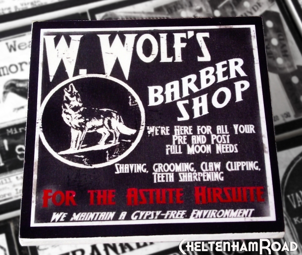 W Wolfs Barber Shop Gothic Halloween Coaster Set Cheltenham Road