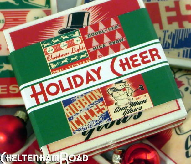 Holiday Cheer Vintage  Christmas Coasters by Cheltenaham Road