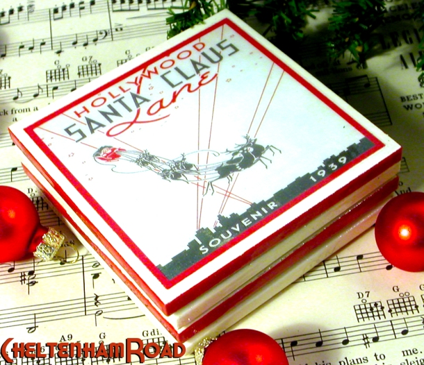 Hollywood Santa Claus Lane Retro Coaster Set