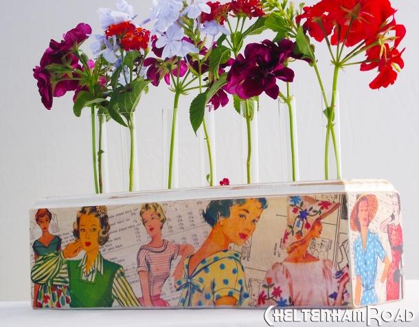 Retro Dress Pattern Bud Vase by Cheltenham Road