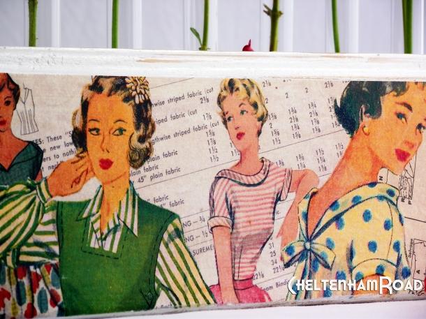 Retro Fashion Dress Pattern Flower Holder by Cheltenham Road