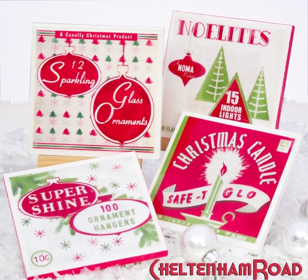Vintage Holiday Coaster Set Cheltenham Road