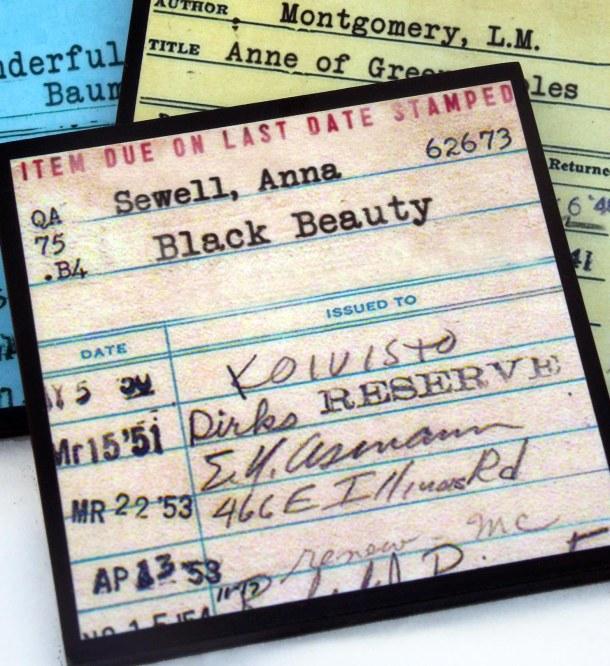 vintage library card coaster set