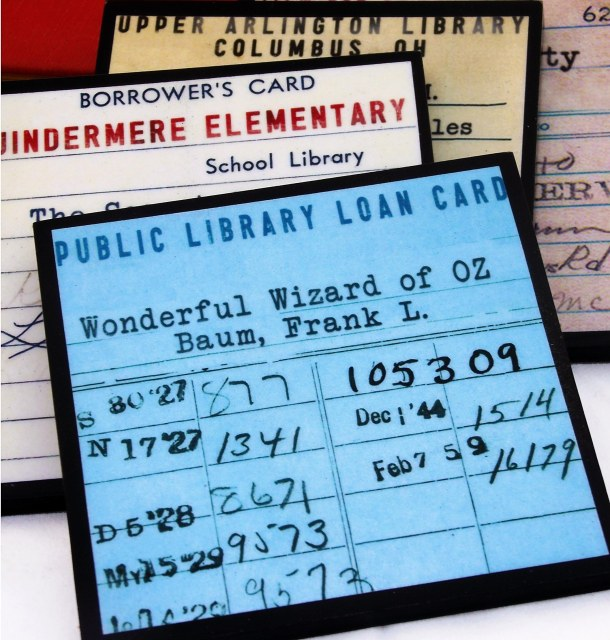 library card coaster set