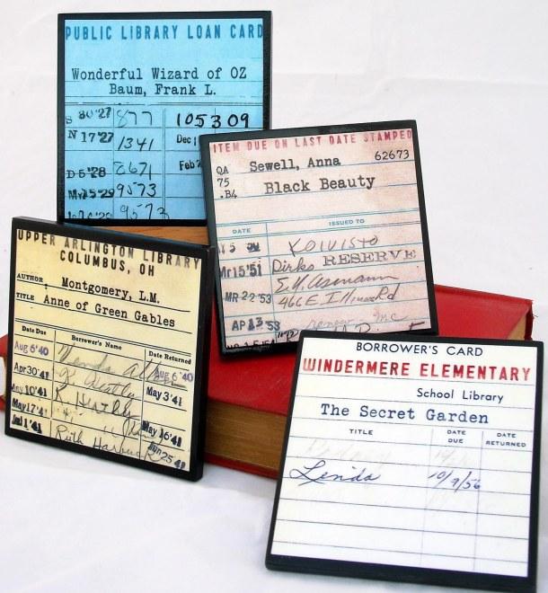 Vintage Library Ephemera Wood Coaster Set