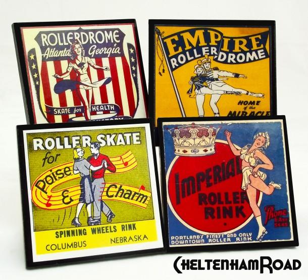 Vintage Roller Skate coaster Sets via Etsy