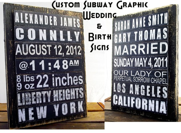 Custom Subway Graphic Wedding and Birth Signs