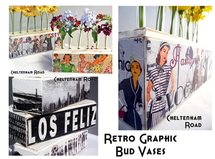 Retro Graphic Bud Vases by Cheltenham Road