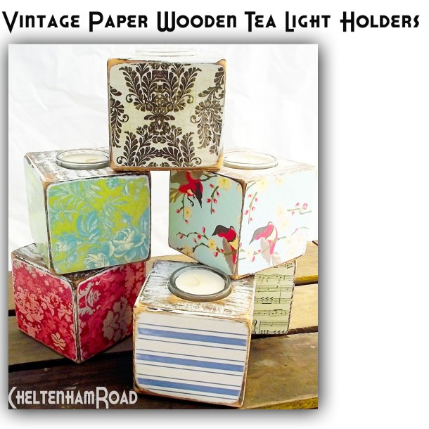 Vintage Paper Wooden Tea Light Holders