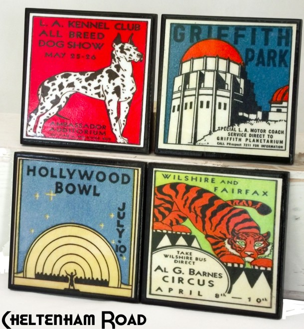 Coaster Set Vintage Los Angeles Cheltenham Road