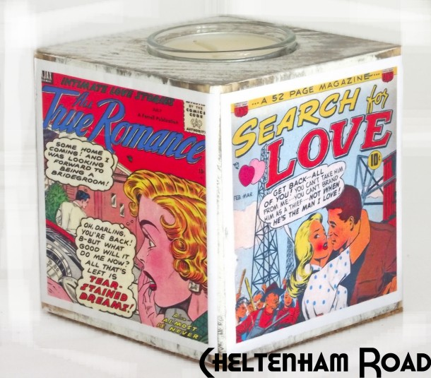 Retro Romance Comic Book Tea Light Holder Cheltenham Road