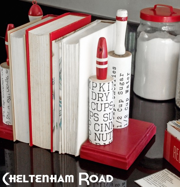 Vintage Kitchen Rolling Pin Bookends Cheltenham Road for Mod Podge Rocks