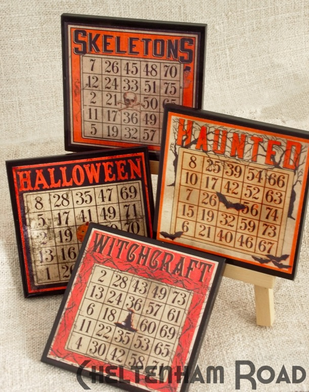Bingo Card Coaster Set for Halloween by Cheltenham Road