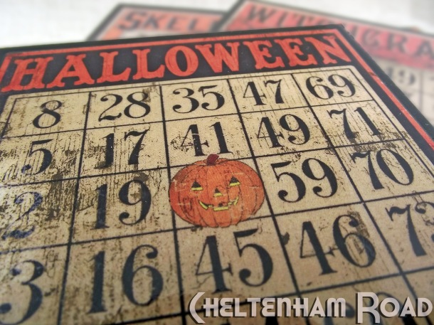 Retro Halloween Bingo Card Coaster Sety by Cheltenham Road