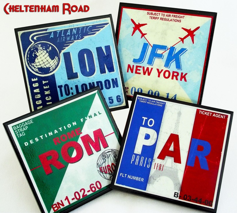 The Jet Set Vintage Luggage Label Coaster Set Cheltenham Road