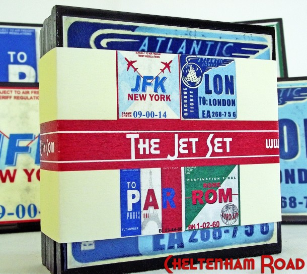 The Jet Set Vintage Luggage Tag coaster set Cheltenham Road