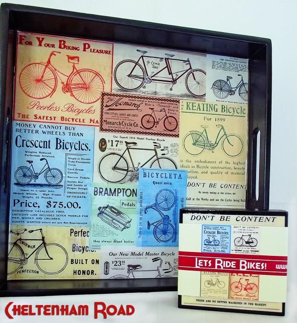 Vintage Bicycle Tray and Coaster Set Cheltenham Raod