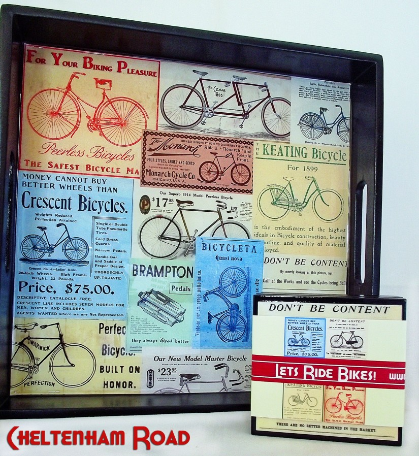 Vintage Bicycle Tray and Coaster Set Cheltenham Raod