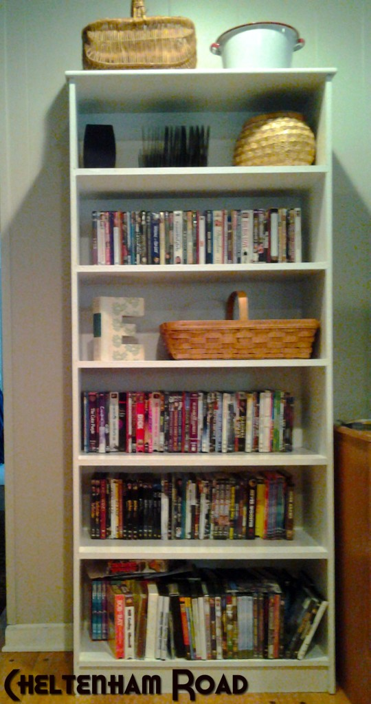 Phebe's Bookshelf Makeover - DVD Hiding Coverup