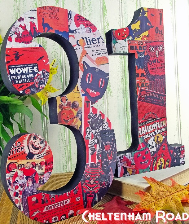 Wood 31 sign for Halloween with Vintage Collage Cheltenham Road