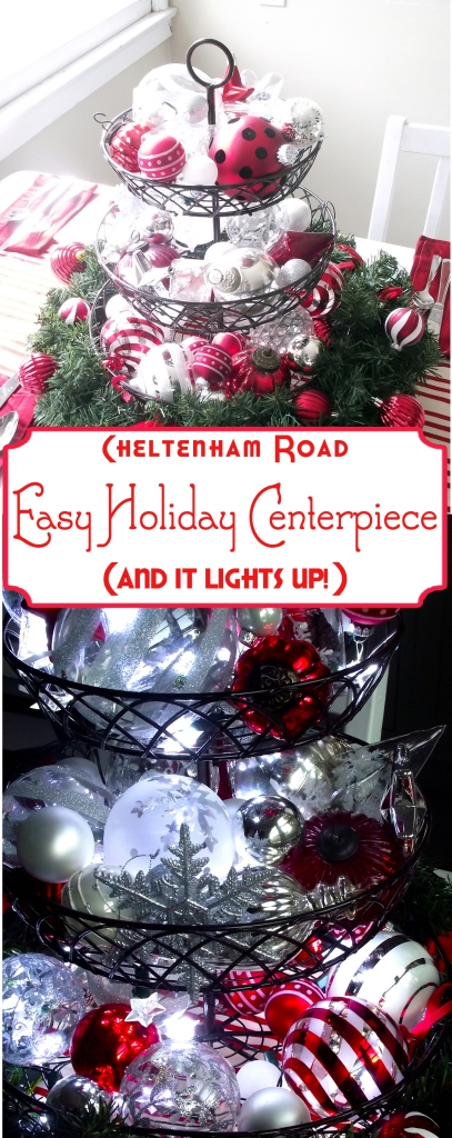 Easy Light Up Christmas Centerpiece Idea from Cheltenham Road