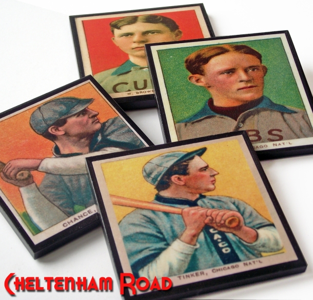 Chicago Cubs Baseball Card Coaster Set by Cheltenham Road onEtsy