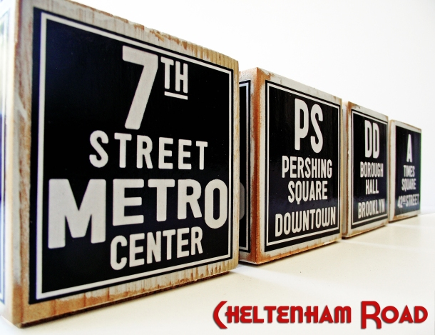Retro Subway Art Style New York and LA Candle Holders by Cheltenham Road