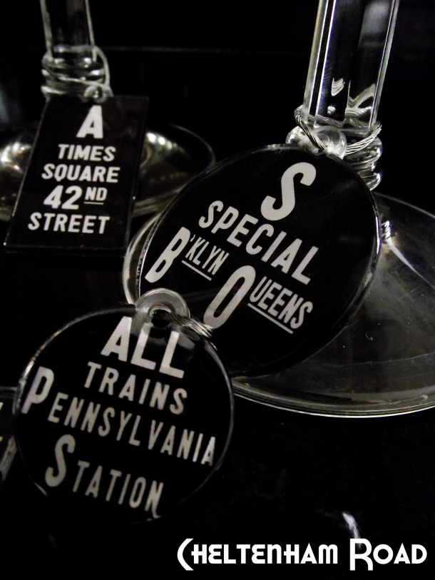 New York Subway Art Wine Charms Chelteham Road Tutorial available via Mod Podge Rocks