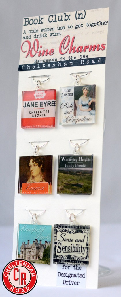 Wine Charms made from Classic Books by Cheltenham Road on Etsy