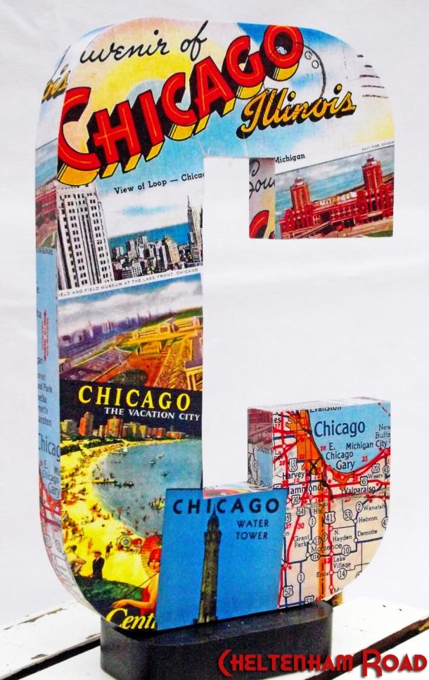 Vintage Chicago postcard collage