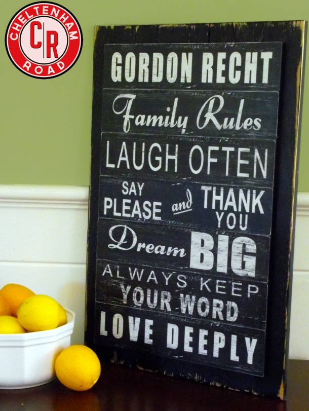 Custom Family Rules Subway Graphic Sign by Cheltenham Road