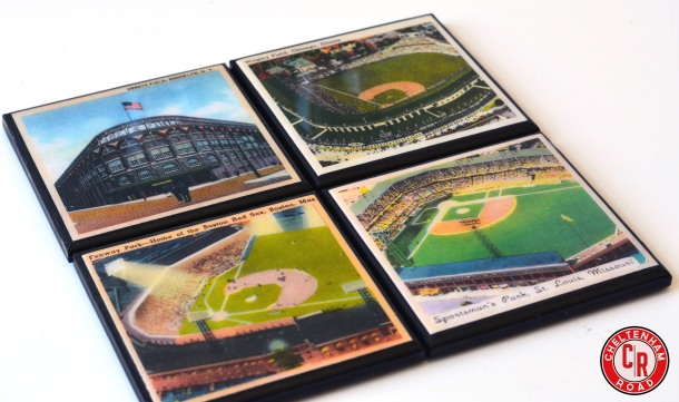 Vintage Baseball Stadium Coaster Set Cheltenham Road