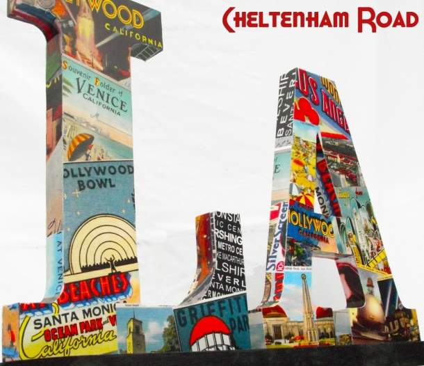 Los Angeles Wood Letters Vintage Postcard Collage by Cheltenham Road