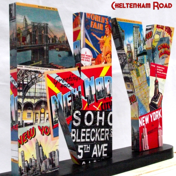 11 inch high wood letters vintage New York City collage by Cheltenham Road