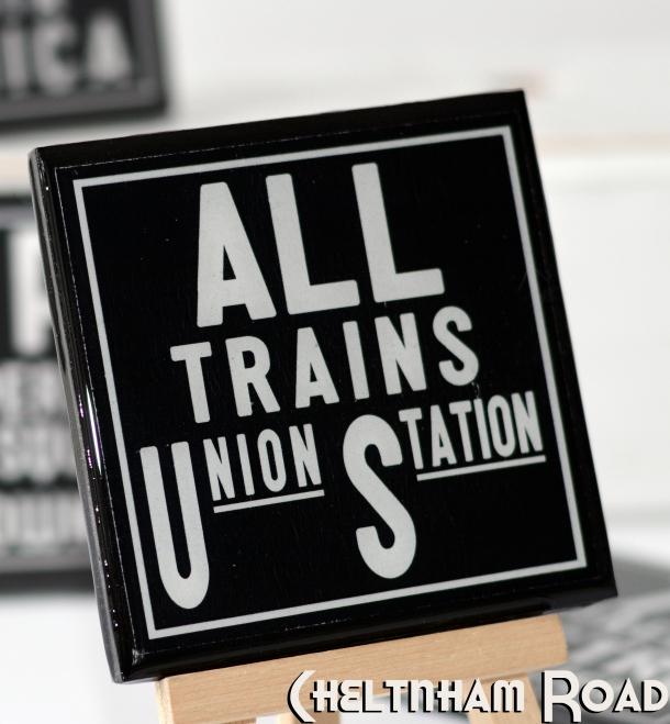 Union Station Vintage Subway Art Graphic Coaster Set by Cheltenham Road