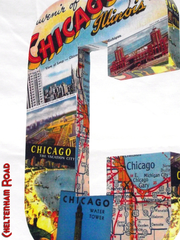 Vintage Chicago Wood Letter Collage by Cheltenham Road